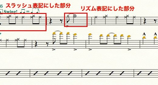 【Finale】スコアに追加した楽譜スタイル(リズム譜など)をパート譜にも反映させる方法